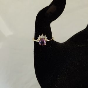 """Gold Plated """"Crown"""" Ring with Light Purple Stone"""